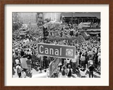A Crowed Gathers as Floats Make Their Way Through Canal Street During the Mardi Gras Celebration Framed Photographic Print
