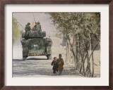 Afghan Boys Walk Along a Path While International Security Assistance Force (Isaf) Framed Photographic Print