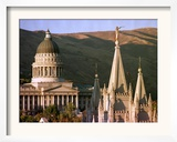 Sun Sets on Utah's Capitol Building Framed Photographic Print