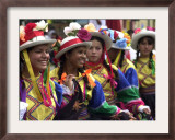 A Girl and Her Friends Smile During a March Framed Photographic Print
