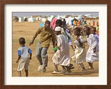 Sudanese Displaced Children Play Soccer at Abu Shouk Camp Framed Photographic Print