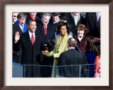 Barack Obama Sworn in by Chief Justice Roberts as 44th President of the United States of America Framed Photographic Print