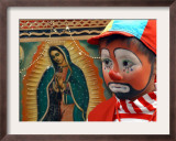 "Young Clown, ""Bolillito,"" Stands Next to an Image of the Virgin of Guadalupe in Mexico City Framed Photographic Print"