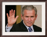 U.S. President George W. Bush Waves at the Audience Framed Photographic Print