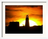 The Morning Sky is Set Ablaze by the Rising Sun Behind Wood Island Light Framed Photographic Print