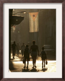 A Mother Walks Her Children to School in Old Havana, Cuba Framed Photographic Print