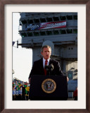 President Bush Declares the End of Major Combat in Iraq as He Speaks Aboard the Aircraft Carrier Framed Photographic Print