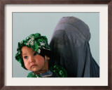 An Afghan Mother Waits with Her Daughter Before Attending Medical Care Framed Photographic Print