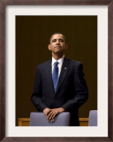 President Barack Obama Pauses During the Opening Ceremony of the Summit of the Americas Framed Photographic Print