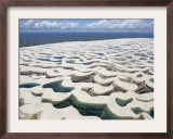 Aerial View of the Sand Dunes at the Lencois Maranhenses National Park, Brazil Framed Photographic Print