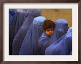 Afghan Women Wearing Burqas Line Up to Vote at a Polling Station in Kabul Framed Photographic Print