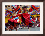 Monks Perform a Black Hat Dance Framed Photographic Print