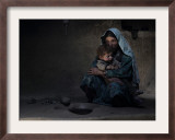 Sarab Village Resident Comforts Her Son after Having Early Morning Opium Smoke with Family Members Framed Photographic Print