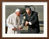 Cuban President Fidel Castro,And Pope John Paul II Framed Photographic Print