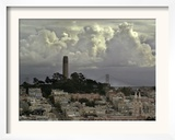 Storm Clouds Hover Over San Francisco's Coit Tower Framed Photographic Print