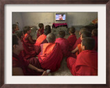 Young Monks Watch a Bollywood Movie at a Monastery Framed Photographic Print