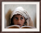 A Small Girl Takes Lessons at the Nangalam High School in Nangalam, Eastern Afghanistan Framed Photographic Print
