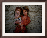 Afghan Girl Holds Her Younger Sister in Nangarhar Province, East of Kabul, Afghanistan Framed Photographic Print