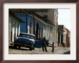 A Cuban Man Gets out of His Car with His Child Framed Photographic Print by Javier Galeano