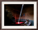 Afghan Men Have Lunch at an Old Tea Shop Framed Photographic Print