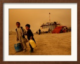 A Boy, 7, and His Sister, 5, Sell Water (One Glass for Us 2 Cents) Outside a Circus Framed Photographic Print