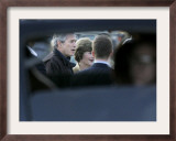 President Bush is Seen Though a Window of a Secret Service Automobile Framed Photographic Print by Lm Otero