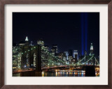 Tribute to Victims of World Trade Center Terrorist Attacks Lights Up the Sky Above Manhattan Framed Photographic Print