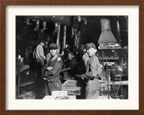 Young Boys Working at Midnight in Indiana Glassworks. Framed Photographic Print