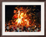Malaysian Ethnic Chinese Set Fire to the King of Hell Giant Statue Framed Photographic Print