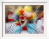 Clown Celebrates During a Colourful Historical Carnival Procession in Wasungen, Germany Framed Photographic Print
