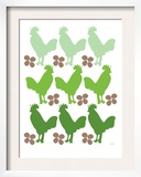 Green Chicken Family Prints by  Avalisa