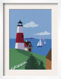 Lighthouse with Sailboats Posters