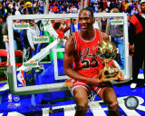 Michael Jordan with the 1987 NBA All Star Slam Dunk Contest Trophy Photo