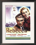Rebecca, Laurence Olivier, Joan Fontaine on Belgian Poster Art, 1940 Prints