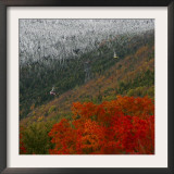 Tram Cars Take Tourists Up Cannon Mountain in New Hampshire as Snow Meets with Changing Leaves Framed Photographic Print