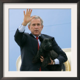 President Bush Steps Down from Air Force One Framed Photographic Print