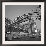 Pedestrians Cross Virginia Street as the Arch That Proclaims Reno: the Biggest Little City Framed Photographic Print