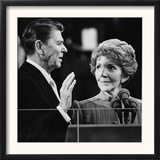 Nancy Reagan Proudly Watches as Her Husband Ronald Reagan Takes the Oath of Office Framed Photographic Print