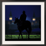 Excercise Rider Makes His Way to the Track for an Early Morning Workout at Churchill Downs Framed Photographic Print
