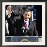 President Barack Obama Waves Before His Inaugural Address, Washington DC, January 20, 2009 Framed Photographic Print
