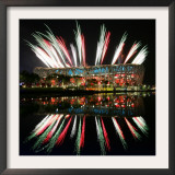 Fireworks over Bird's Nest, 2008 Summer Olympics, Beijing, China Framed Photographic Print