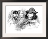 Engraved Portraits of Cherokee Women and a Man, 1880 Prints