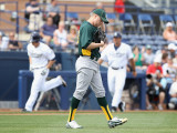Oakland Athletics v San Diego Padres, PEORIA, AZ - MARCH 06: Josh Outman and Logan Forsythe Photographic Print by Christian Petersen