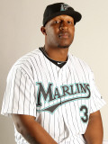 Florida Marlins Photo Day, JUPITER, FL - FEBRUARY 23: Joe Thurston Photographie par Mike Ehrmann