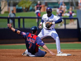 Cleveland Indians v San Diego Padres, PEORIA, AZ - MARCH 13: Orlando Hudson and Matt LaPorta Photographic Print by Kevork Djansezian