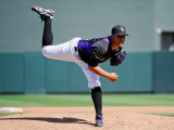 Cincinnati Reds v Colorado Rockies, SCOTTSDALE, AZ - MARCH 14: Jhoulys Chacin Photographic Print by Kevork Djansezian