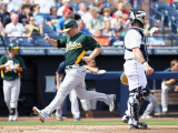 Oakland Athletics v San Diego Padres, PEORIA, AZ - MARCH 06: Cliff Pennington and Gregg Zaun Photographic Print by Christian Petersen