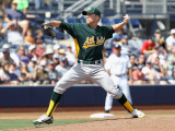Oakland Athletics v San Diego Padres, PEORIA, AZ - MARCH 06: Josh Outman Photographic Print by Christian Petersen