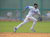 Los Angeles Dodgers v San Francisco Giants, SCOTTSDALE, AZ - FEBRUARY 26: Dee Gordon Photographic Print by Rob Tringali