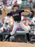 Colorado Rockies v Arizona Diamondbacks, SCOTTSDALE, AZ - FEBRUARY 26: Ubalbo Jimenez Photographic Print by Jonathan Ferrey